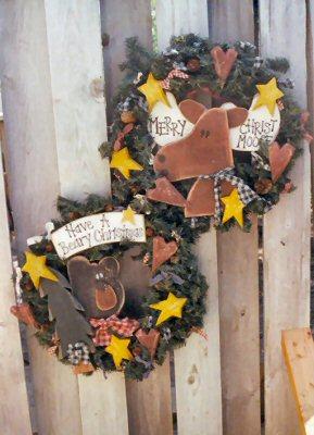 Christmas moose and bear wreaths