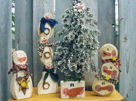 Carved Chunky Snowman Set 3