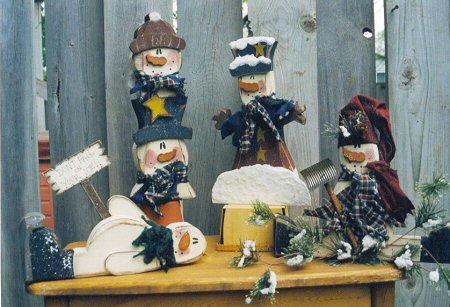 Carved Chunky Snowman Set 2